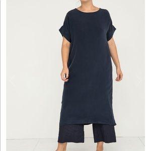 Elizabeth Suzann Georgia Midi Navy Silk Dress, OS